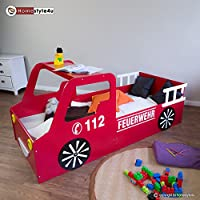 Homestyle4u Doppelbett in Fire Truck Design, Holz, rot, 98 x 205 x 60 cm