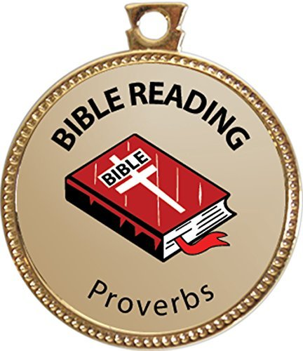 Proverbs Bible Reading Award, 1 inch dia Gold Medal 'Bible Reading Achievements Collection' by Keepsake Awards