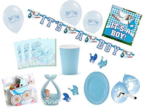 Partydekoset Babyparty Baby Shower Junge blau für 70teilig Pullerparty Baby Geburt Babyparty Komplettset Tischdeko Party Geschirr