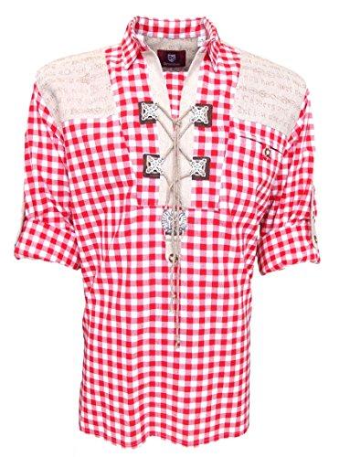 Trachtenhemd für Trachten Lederhosen mit Verzierung Brombeer/kariert, Hemdgröße:S