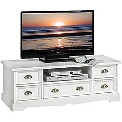 IDIMEX Meuble TV Tequila Banc télé de 114 cm en Bois Style Mexicain avec 5 tiroirs et 1 Niche, en pin Massif lasuré Blanc
