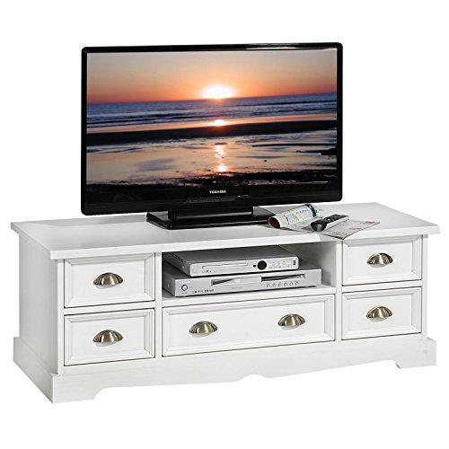 IDIMEX Mexiko TV Lowboard im Mexico Möbel Stil, Kiefer massiv, weiß, Landhausstil, Rack Fernsehtisch Schrank Fernsehschrank Bank Sideboard Tisch
