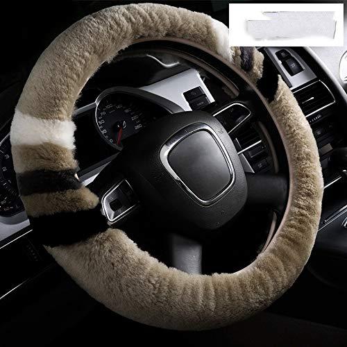 LZK Kurz-Klammer Wolle Auto Lenkrad Abdeckung Winter Wolle Samt Abdeckung Set Mode Griff,Kamel,1 - Kamel Griff