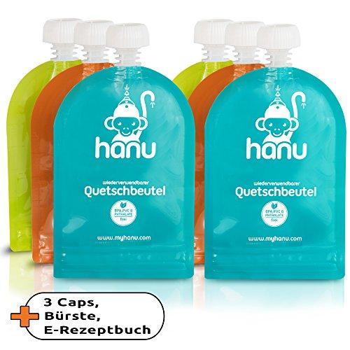 Hochwertige Quetschbeutel zum Befüllen 6er Set von HANU | Wiederverwendbare Baby-Quetschbeutel inkl. 31 Rezepte, Reinigungsbürste & 3 Extra Deckel | Quetschflasche (150ml) FREI von BPA | Designed in GERMANY