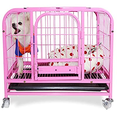 Zhijie-cwl Dog Cage Cat Cage Square Tube Pet Cage Small Dog Teddy Bear Xiong Bomei Bold Dog Cage Dog House Rabbit Cage With Sunroof 62 * 44 * 57cm Recommended Within 6kg by zhijie-cwl