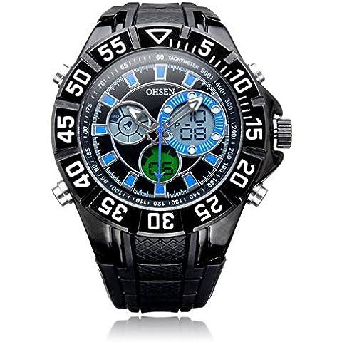 Chronos Ohsen sportive ad2815 grandi dial indietro leggeri settimana uomini quarzo orologio da polso