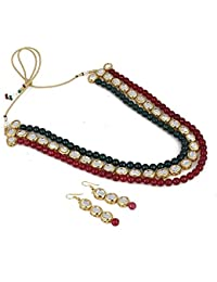 Aradhya Designer High Grade Shining Green And Maroon Onyx Kundan Necklace Set With Earrings For Women And Girls