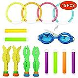 15 stuks duikringen & speelgoed, waterspeelgoed, 6 x duikstokken, 4 x duikringen, 4 x watergras, duikbalstrooier, 1 x zwembril, zwembril, speelgoed voor kinderen, meisjes en jongens