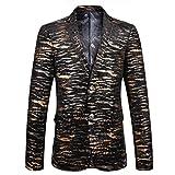 G WELL Herren Blazer Tiger Stripe Bügelfreie Bronzing Smoking Lässige Anzugjacke Sakko für Party Bühnen Freizeit Gold M
