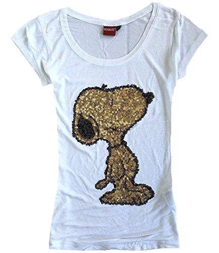 Peanuts Damen T-Shirt Snoopy Pailletten Rundhals Weiß
