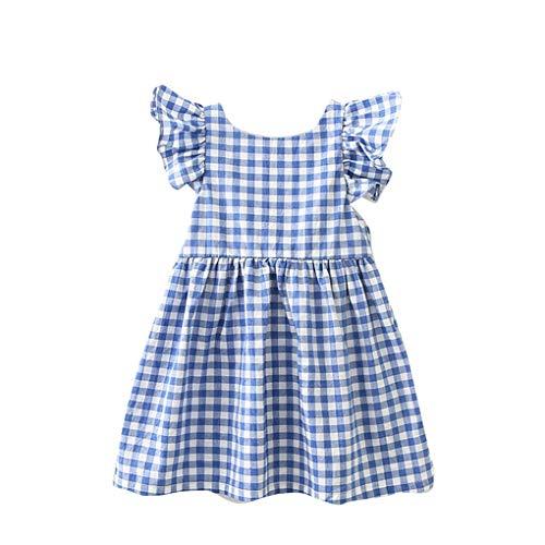 Plzlm Schöne A-line-Kinder schnüren Sich Oben Bowtie kurzes Kleid Baby-Grids Druck Scoop Ausschnitt Cute Backless kurzes Kleid