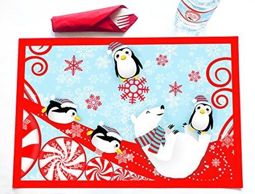 Winter Wonderland 12 Placemats - Penguin Decorations - Winter Party Decorations - Snowflake Decorations - Red