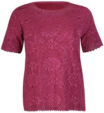 Womens Short Sleeve Ladies Round Scoop Neckline Stretch Floral Baroque Slinky Lazer Cut Scalloped Hemline Cuffs Blouse T-Shirt Top Plus Size Plum Size 16 - 18 (M/L)