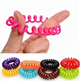 Goma de pelo (espiral de plástico), cable de teléfono, elástico, joyería del pelo en los paquetes de 10