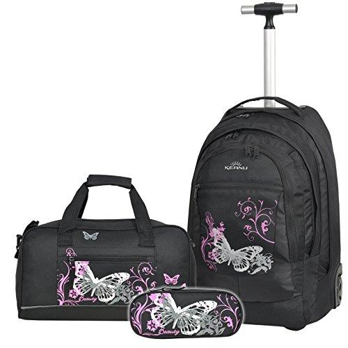 PREMIUM Schulset 3 Teile :: Schultrolley Schulranzen 35 Liter KEANU hochwertiger XL Schulrucksack Rucksack DRIVER + passende Sporttasche + Etui Box Mäppchen (Butterfly) (Schulranzen 3)