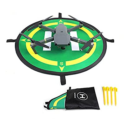 """Kingwon RC Drone Helicopter Quadcopter Landing Pad Apron Rubber Base 50cm 19.69"""" Collapsible Helipad for DJI Mavic Pro Small Drone Outdoor Accessories"""