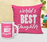 Tied Ribbons Gift For Daughter On Childrens Day Cushion(12 Inch X 12 Inch) With Coffee Mug (300ml,Ceramic)