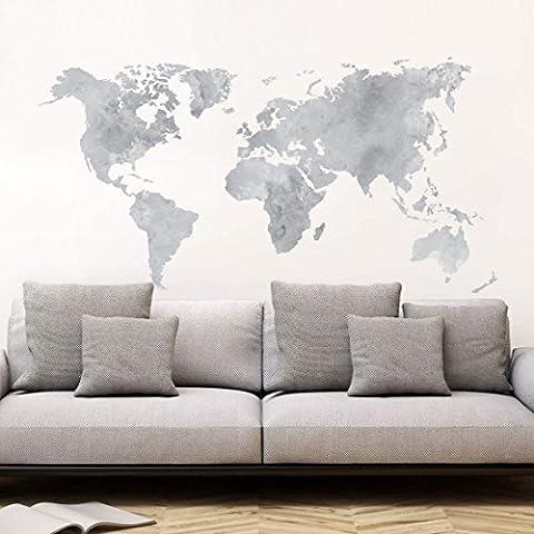 K&L Wall Art - Wandtattoo, Wandsticker Aquarell Weltkarte (grau) - verschiedene Größen - 3707 (120x62 cm)