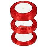 Bestechno - Nastro rosso 15 mm, 10 mm, 6 mm, nastro di raso verde, set di nastri di raso per artigianato, regali, decorazioni floreali e natalizie, 23 m, rotolo da 3 rotoli Rosso