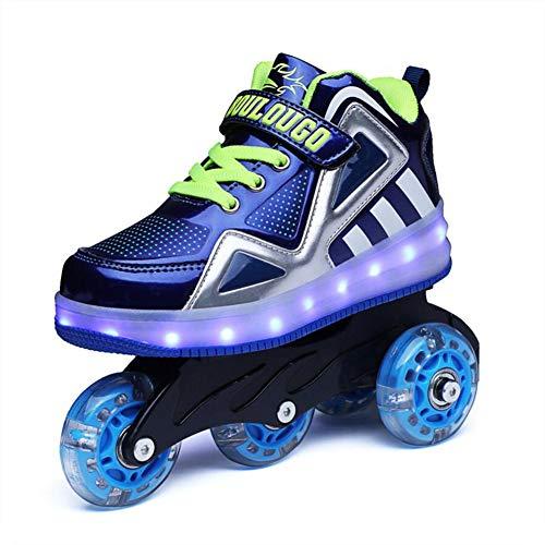 HYM Skates Unisex Kids Roller Quad Roller Skates Boots Werden Sport Sneaker Led Schuhe für Jungen Mädchen Erhältlich in Grün, Rot und Blau,Blue,S