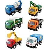 Sita Ram Retails-City Toy Car Builder For Kid's ABS Plastic Construction Vehicle Set- Dumper+JCB+Cement Mixer+Transportruck+GarbageTruck+Container+Crain(Pack Of 6 Pcs)