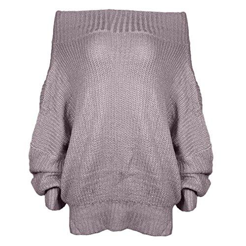 PassMe Maglione da Donna Maglieria Elegante Pullover Maniche Lunghe Pipistrello Fuori Spalla Sciolto T-shirt Tops Autunno Inverno Casuale cachi