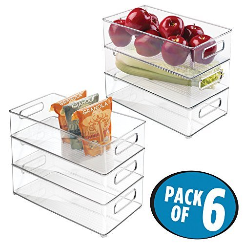 mDesign Storage Containers for Refrigerator and Freezer - Set of 6 - Storage Box with Handles for Cabinets and Pantries - Practical Refrigerator Organiser without Lid - Clear
