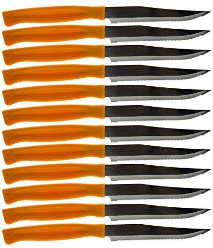 Cuchillos de mesa de carne en acero inoxidable pulido con mango de plástico, forma puntiaguda, cubiertos occidentales para cocina/hotel/restaurante/cantina/escuela/etc