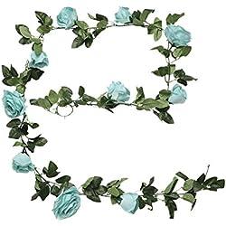 Blumengirlande mit Kunstseide-Blumen von Houda, für Heim, Garten, Wände, Hochzeit, 1 Stück blau