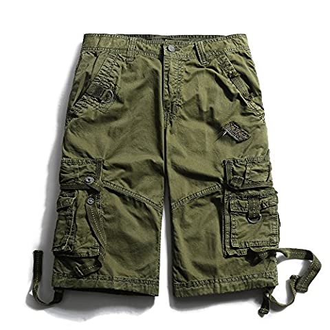 Men's Cotton Loose Fit Multi Pocket Cargo Shorts #3233 Army green 38