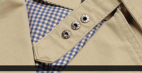 JZWXX Herren Mode Business Revers Kragen Cargo einzigen Knopf Trench Jacke Mantel DE1306 Gelb