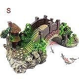 Decoración del tanque de peces - Dxlta Ornamento del acuario Puente de resina de rocalla, Puentes de roca falsa Paisaje del árbol del pabellón