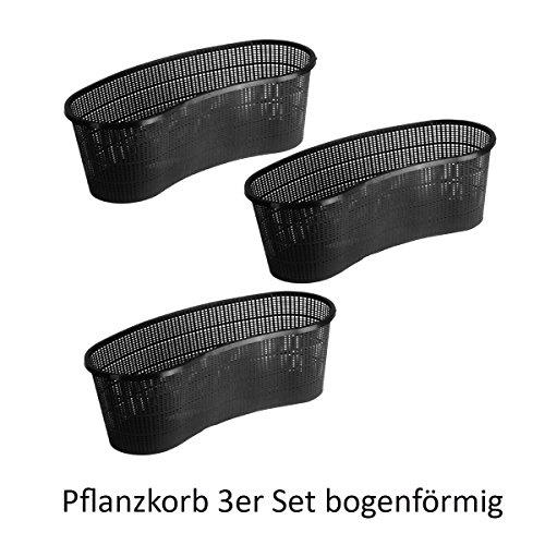 Pflanzkorb Set Pflanzhilfe Wasserpflanzen verschiedene größen Sets ideal für Fertigteiche Gartenteiche unf Fischteiche - 3er - 45 x 18 x 15 cm bogenförmig