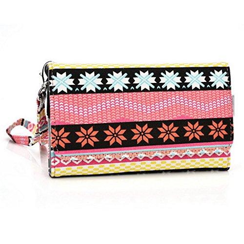 Kroo Téléphone portable Dragonne de transport étui avec porte-cartes Convient pour Karbonn Titanium Hexa/Octane Plus Multicolore - rose Multicolore - rose