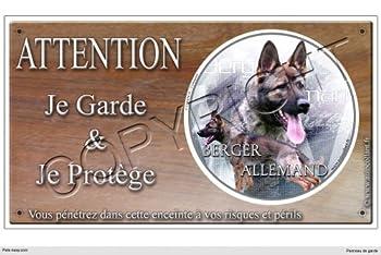 Panneau chien ou plaque Berger-Allemand-Gris 20 cm