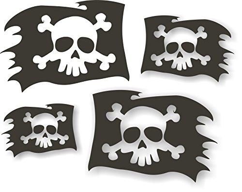 quattroerre 15760pegatinas para coche Calavera Pirata Folio, Negro