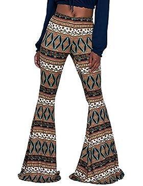Pantalones Mujer Largos Golpear Los Pantalones Elegantes Cintura Alta Estampadas Etnica Estilo Vintage Fashion...