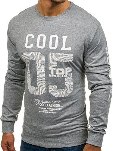BOLF Herren Sweatshirt mit Aufdruck Bündchen Print 1A1 Motiv Grau