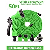 #9: DFS 50 ft EXPANDIBLE HOSE PIPE NOZZLE for garden wash car bike with spray gun and 7 adjustable modes (Green)