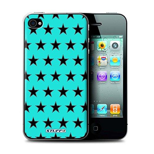 Stuff4 Hülle / Hülle für Apple iPhone 4/4S / Türkis Muster / Sterne Muster Kollektion Türkis