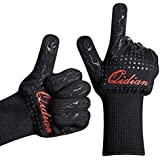 Grill Gloves-932°F Extreme Heat Barbecue Gloves-Set of 2 Kitchen Gloves Insulated By Aramid with 100% Cotton Lining Provides Super Comfort for