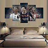 mmbj Barcelona Madrid 5 Piezas de Pintura Moderna de fútbol Arte de la Pared Imagen de la Lona para la Sala de Estar decoración para el hogar 20x30cmx2 20x40cmx2 20x50cmx1
