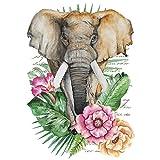Color Bügeltransfer, DIN A4, filigran ohne Hintergund, tropische Tiere | Textilien wie T-Shirts & Taschen mit Bügelmotiven verzieren | Transfer-Bilder schnell & einfach aufbügeln | DIY Textildesign (Elefant)
