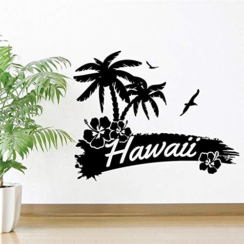 Hawaii Landschaft Vinyl Wandaufkleber Palmen Vögel Strand Abnehmbare Aufkleber Wohnzimmer Salon Schlafzimmer Dekoration 42X53 Cm (Machen Hawaii-dekorationen Ihre Sie Eigenen)