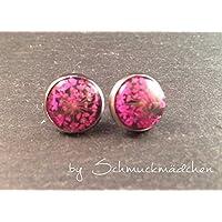 Ohrringe Stecker Edelstahl Blume Pink