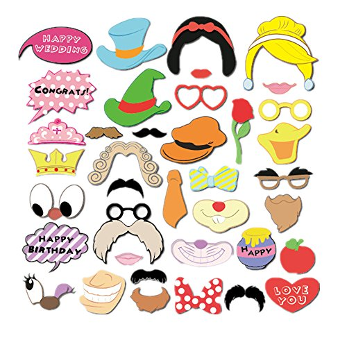b0efd2481fb290 Freessom Photobooth Enfant Kit de 38 Masque Animal Princesse Canard Chapeau  Lunettes Moustache Lapin Props Photos