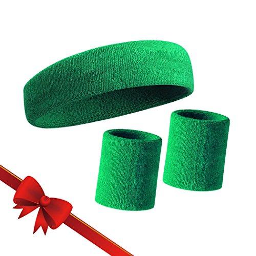 HOTER Sportline Handgelenk Band, Frottee Handgelenkband, Schweißband, Schweißband (Preis für 1Stück), A3-Green(1Headband+2Wristbands)