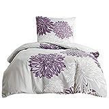 SCM Bettwäsche 135x200cm Grau Lila Mikrofaser 2-teilig Bettbezug & Kissenbezug 80x80cm Blumen Ideal für Schlafzimmer Enya