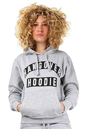 Janisramone Femmes Dames Nouveau Hangover Hoodie Slogan Imprimer Longue Manche Sweat-shirt Toison sauteur Chaleureux Haut Gris - Noir