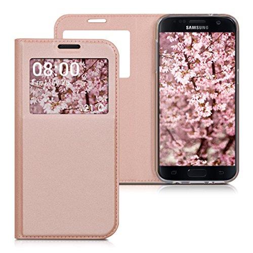 Preisvergleich Produktbild kwmobile Flip Case Hülle für Samsung Galaxy S7 mit Sichtfenster - Aufklappbare Kunstleder Schutzhülle im Flip Cover Style in Rosegold